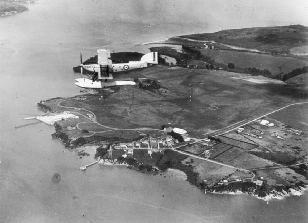 Hobsonville Point - old photo of aerial view with plan